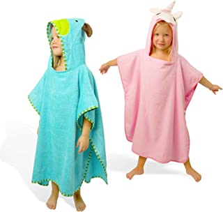 SUNSSEA Kids hooded towel 100% soft cotton, kids bath beach pool towel, beach poncho children. Cute pink unicorn design ho...