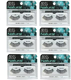 Ardell - Fashion Lashes #105, Reusable upto Three Weeks, Black (6 Pack)