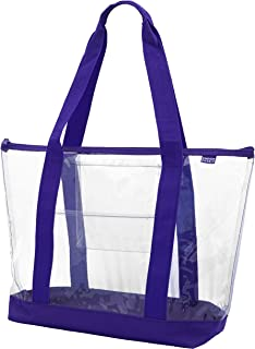 Clear ZIPPER tote with color trim and bottom (Purple trim)