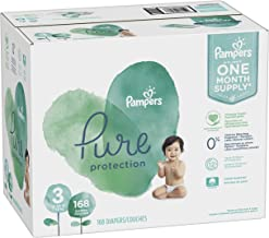 Diapers Size 3, 168 Count - Pampers Pure Disposable Baby Diapers, Hypoallergenic and Unscented Protection, ONE Month Supply