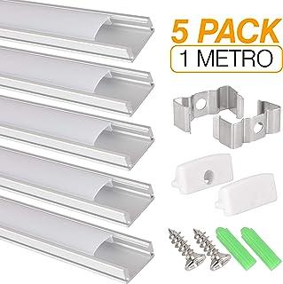 Perfil de aluminio para tira LED, Pack de 5 canaletas de 1