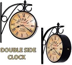 Home Sparkle Vintage Antique Style Station Clock/Wall Clock/Plateform Clock/Home Decor/Gift Pack | Analogue Mild Steel | Black
