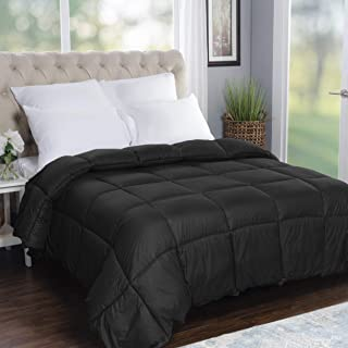 SUPERIOR Oversized All-Season Reversible Down Alternative Comforter, Twin/Twin XL, Black