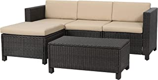 Great Deal Furniture Venice Outdoor 5-Piece Dark Brown Wicker Sectional Sofa Set with Beige Cushions