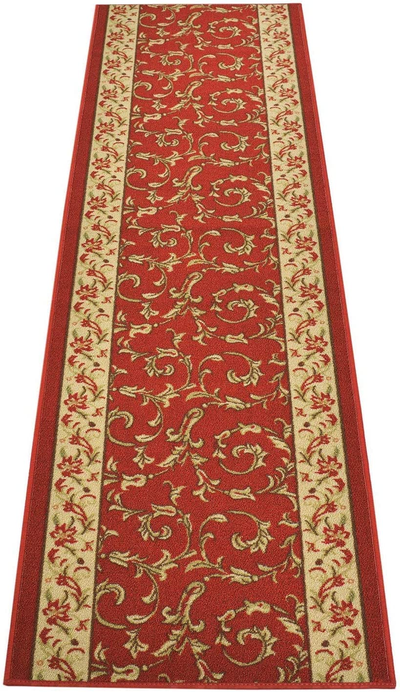 Custom Size Veronica Floral Red Roll Runner 32 Wide in Your Le 最安値挑戦 驚きの値段 x