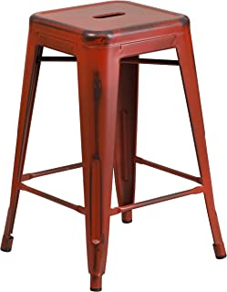 Flash Furniture 24'' High Backless Distressed Kelly Red Metal Indoor-Outdoor Counter Height Stool