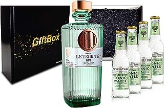 Gin Tonic Giftbox Geschenkset - Le Tribute Gin 0,7l 43% Vol  4x Fever Tree Elderflower Water 200ml inkl. Pfand MEHRWEG - Enthält Sulfite
