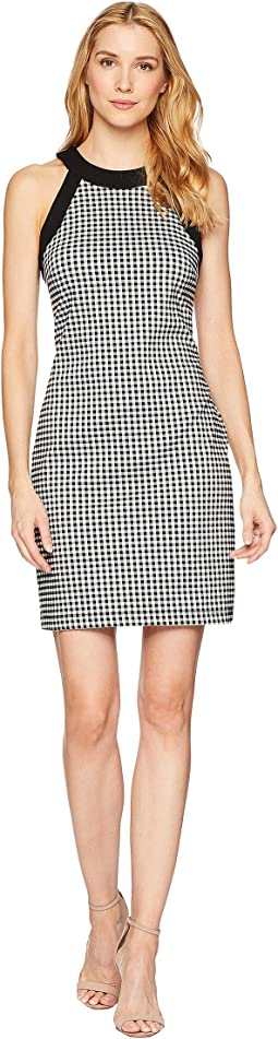 Contrast Check Halter Dress