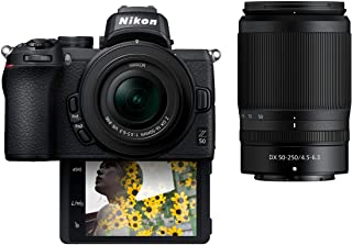 Nikon Z50 with twin lens 16-50mm and 50-250mm Bundle Kit, Mirrorless Camera Black