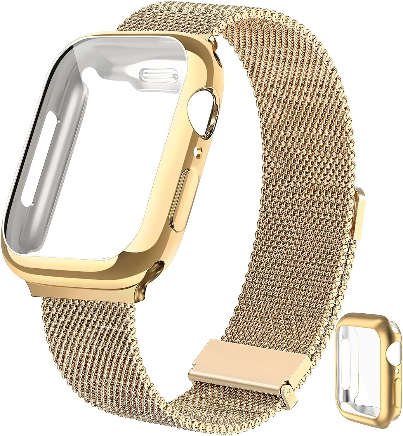 CISSDEN Magnetic Metal Band Compatible for Apple Watch Bands 38mm with Case,Stainless Steel Milanese Loop Mesh Adjustable Replacement Strap Women Men Compatible for iWatch Apple Watch Series 3/2/1