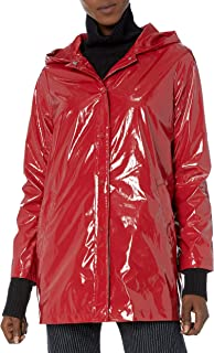 Women's Patent Leather Long Vinyl Jacket W/Tapin