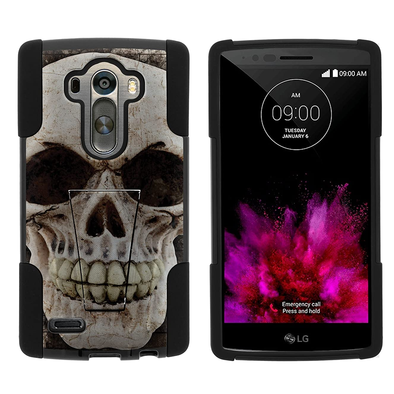 MINITURTLE Compatible with LG G4 H815 Fusion Strike Dual Layer Stand Phone Case Unique Skull Series, Scary Skull