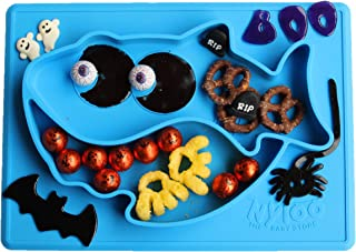 Baby Shark Halloween placemat/Plate by Nyloo -The Baby store, for Babies and Toddlers Over 6 Months, Blue, Made Out of FDA Approved Silicone