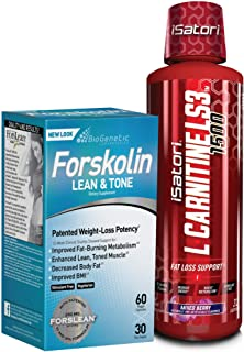 iSatori L-Carnitine LS3 Mixed Berry 1500mg (32 Servings) & BioGenetic Labs Forskolin Lean & Tone