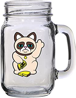 Grumpy Neko Unlucky Lucky Cat With Broken Coin - 16 oz Mason Jar Glass Mug for Beer Tea Wedding, Engagement Anniversary Bridal Party for Newlyweds
