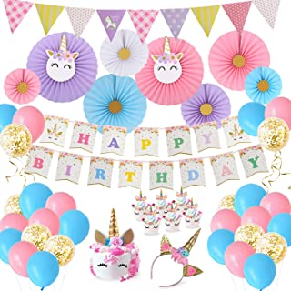 Birthday Party Decorations Baby Girls Unicorn Theme Party Supplies Paper fans Cupcake Wrapper Balloons Happy Birthday Banner Unicorn Headband for Kids Birthday Party Supplies