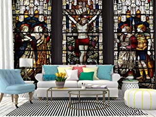 Kanworse Crucifixion Window Stained Glass Windows and Pictures Canvas Print Wallpaper Wall Mural Self Adhesive Peel & Stick Wallpaper Home Craft Wall Decal Wall Poster Sticker for Living Room