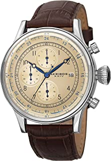Akribos XXIV Men's Chronograph Watch - 3 Subdials with Date Window On Crocodile Pattern Leather Strap - AK798