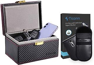 $29 » TICONN Faraday Bag for Key Fob (2 Pack, PU Leather) & Faraday Box (Carbon Fiber Texture), Car RFID Signal Blocking, Anti-T...