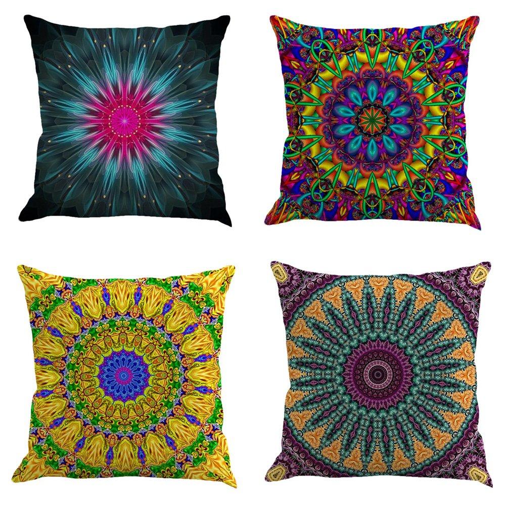 Seven Colors Cat Art Cotton Linen Decorative Throw Pillow Case Cushion Cover 17.7 x 17.7inches