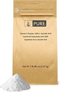 Vitamin C Powder (5 lb.) by Pure Organic Ingredients, Eco-Friendly Packaging, L-Ascorbic Acid, Antioxidant, Boost Immune System, DIY Skin Care