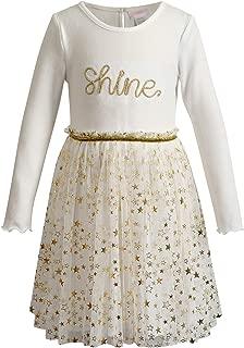 Youngland Girls' Brushed Sweater Knit with Glitter Mesh Tutu Dress