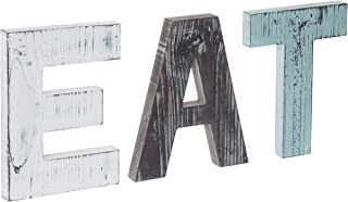 MyGift Rustic Multicolor Cutout Wooden EAT Letters, Wall Mounted Decorative Signs