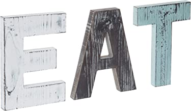 MyGift Rustic Country Farmhouse Multicolor Cutout Wooden EAT Block Letters, Wall-Mounted Decorative Signs Wall Décor for Home, Kitchen & Dining Room
