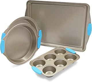 Nonstick Baking Pan Set, Bakeware with Blue Silicone Handles (4 Pack)