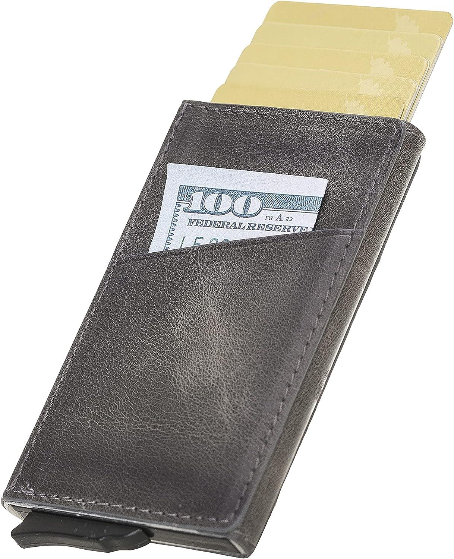 Minimalist Wallets for Men Pop up Wallet - RFID Blocking Slim Leather Credit Card Holder
