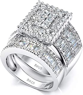 Pophylis Platinum Over Sterling Silver Big Womens Bridal Rings Set Bling Princess Cut Cubic Zirconia Size 5-11.5