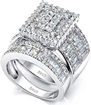 Pophylis Platinum Over Sterling Silver Big Womens Bridal Rings Set Bling Princess Cut Cubic Zirconia Size 5-11.5