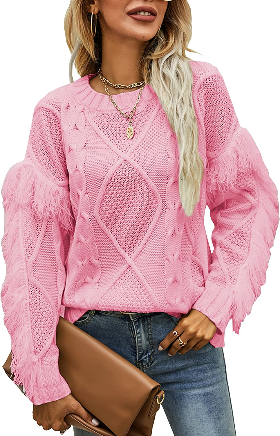 Theenkoln Women's Sweaters Casual Crew Neck Cable Knit Solid Long Sleeve Fringe Pullover Sweater Tops
