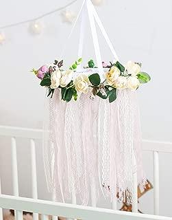 Boho Baby Mobile Flower Dreamcatcher Nursery Crib Mobile Floral Chandelier Baby Girl Shower Mom to be Gift Diam 8 inces(20 cm)