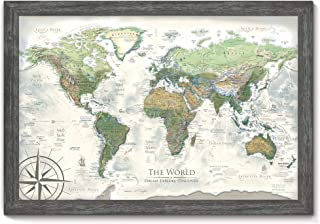 World Map Push Pin - The Nautilus World Map - Large Framed Map - Created by a Professional Geographer