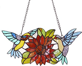 Bieye W10006 15 inches Hummingbirds Flower Tiffany Style Stained Glass Window Hangings Panel with Chain, 15