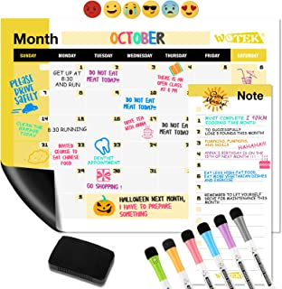 WOTEK A3 Pizarra Magnética Nevera, Calendario Magnetico para Nevera Semanal Mensual (1*A3 Planificador, 1* A5 Planificador...
