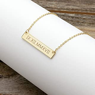 A Roman Numerals Wedding Date Necklace Engraving Special date Personalized Christmas gift Wedding Gift special date - 4N-RN