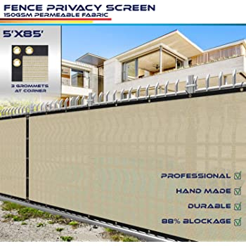 Amazon Com 5 X 7 Privacy Fence Screen In Beige Tan With Brass Grommet 85 Blockage Windscreen Outdoor Mesh Fencing Cover Netting 150gsm Fabric Custom Size Garden Outdoor