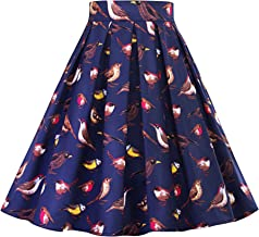 Women's Vintage Pleated Floral Print Flared Summer A-Line Midi Multi Colored Pleated Skirt
