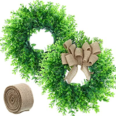 14 Artificial Green Leaf Wreath Boxwood Round Wreath Wedding Home Door Decor