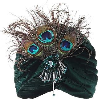 BABEYOND Gatsby Turban Hat Vintage 1920s Head Wrap Knit Pleated Turban 20s Cap (Black)