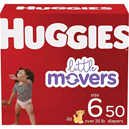 Baby Diapers Size 6, 50 Ct, Huggies Little Movers