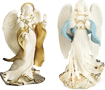 Lenox First Blessing Nativity Standing Camel Angel of Peace and Angel of Hope White, Gold