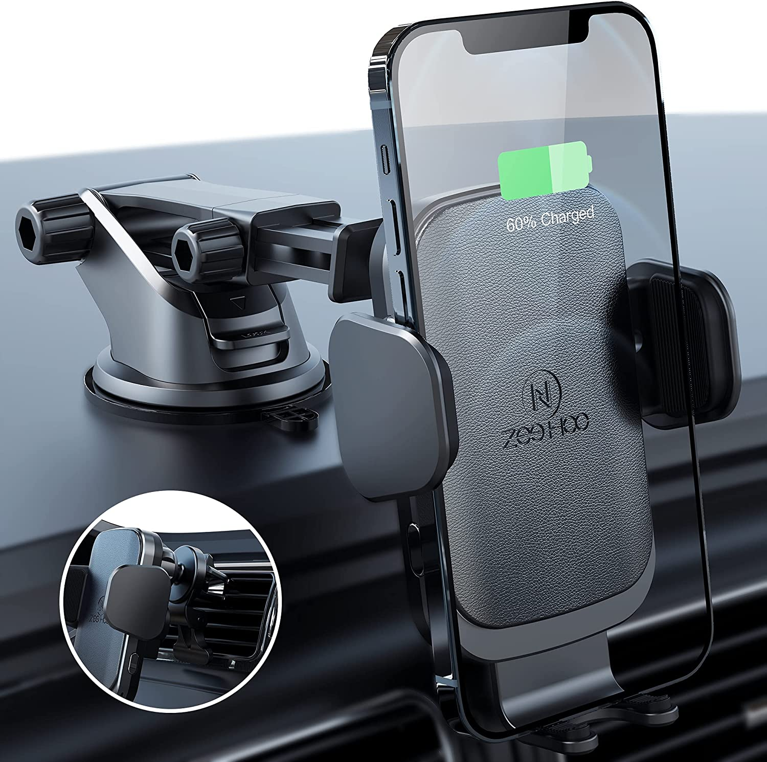 ZeeHoo Wireless Car Charger,10W Qi Fast Charging Auto-Clamping Car Mount