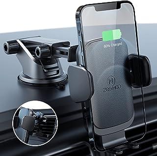 شاحن سيارة لاسلكي من زيهوو، 10 وات Qi الشحن السريع تركيب السيارة، حامل هاتف على الزجاج الأمامي مع فتحات تهوية (جلد-أسود)