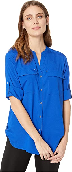 6281f6d4 Calvin klein half pleat button front blouse | Shipped Free at Zappos