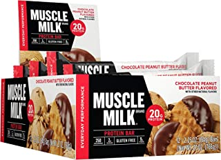 Muscle Milk Protein Bar, Chocolate Peanut Butter, 20g Protein, 2.25 Oz, 12 count