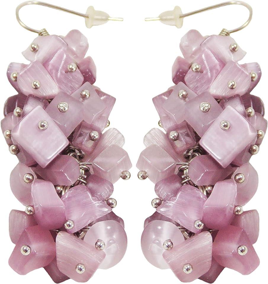Handmade Custom purple stone earring Genuine Natural Everyday Neutral Designer cat eye gemstones statement violet dangle drop (Purple Cat eyes)