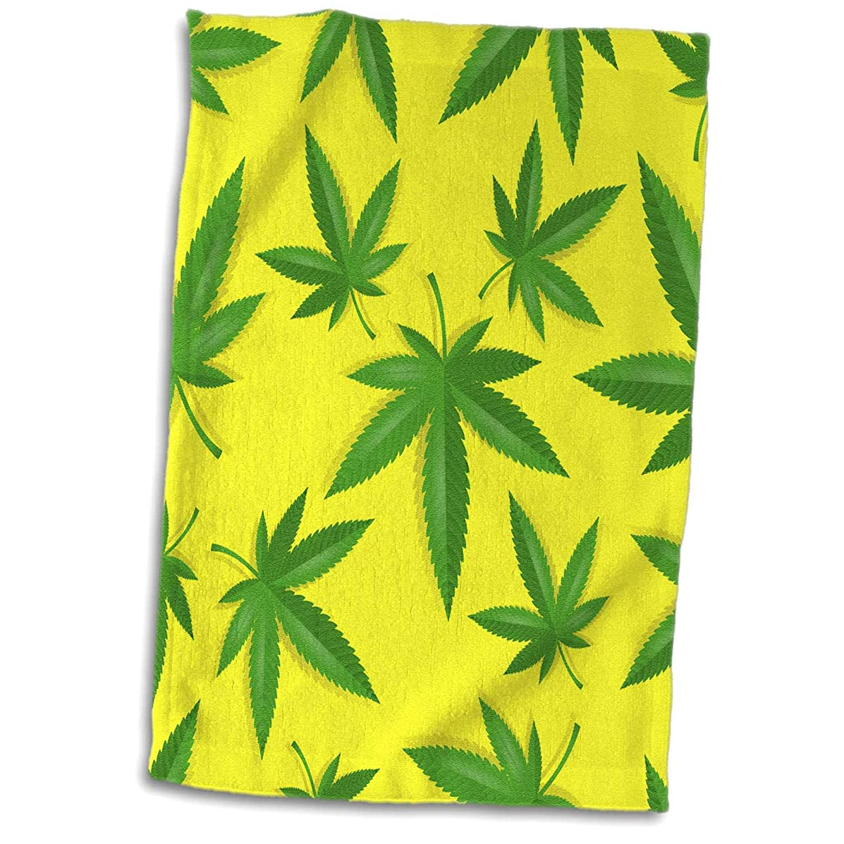 3dRose Sven Herkenrath Pattern - Pattern Style of Cannabis Leaf with Yellow Background - 15x22 Hand Towel (twl_311024_1)